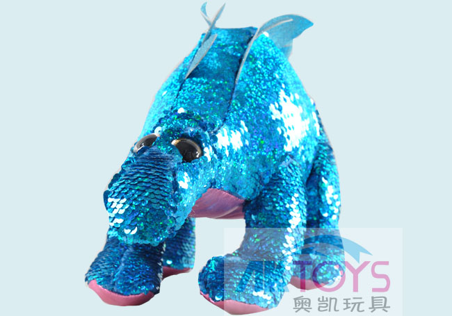 亮片毛绒恐龙玩具(蓝色)