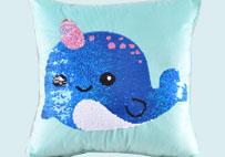 独角鲸鱼亮片毛绒抱枕(蓝色)