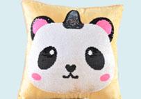 独角熊猫亮片毛绒抱枕(黄色)