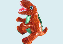 亮片毛绒恐龙玩具(棕色)