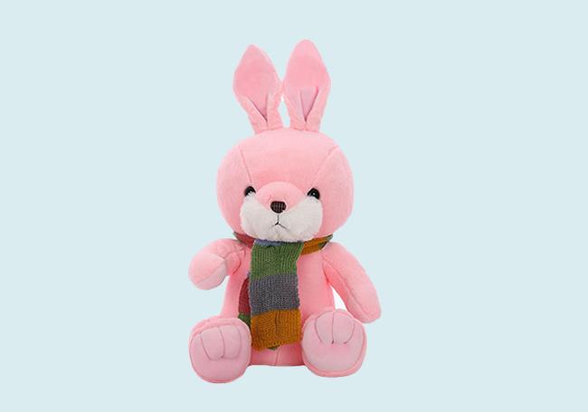 粉红围巾小兔