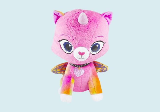粉红独角猫毛绒玩具