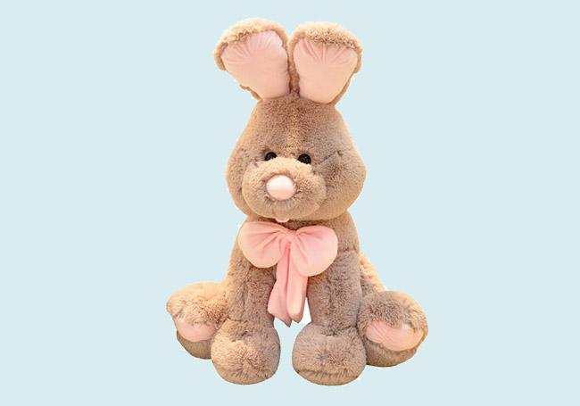 粉色领结小棕兔玩具