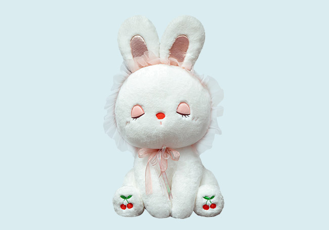 坐姿纱帽小兔玩具