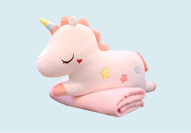 粉色趴姿独角兽玩具