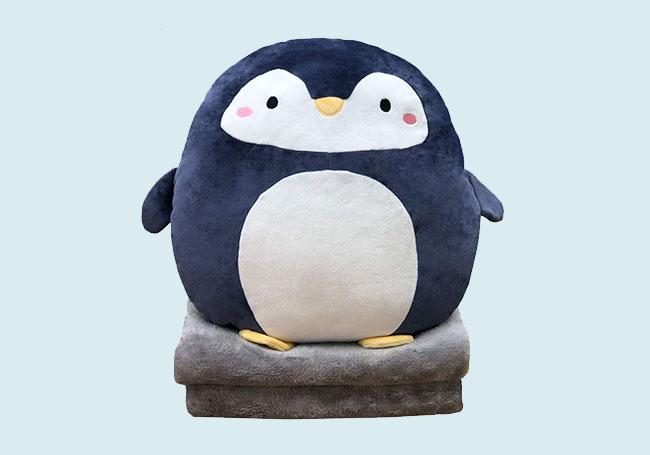 蓝色小企鹅毛毯