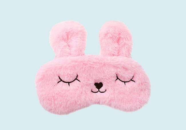 粉小兔毛绒眼罩