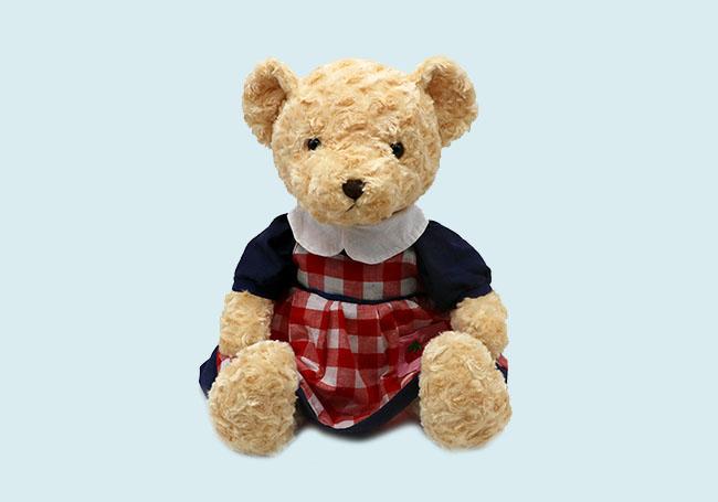 格子裙小熊玩具