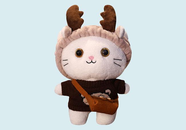 麋鹿帽帽小猫玩具